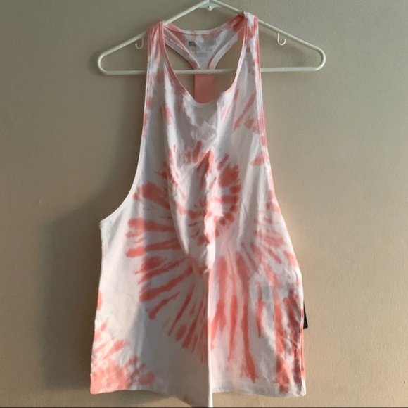 Forever 21 Tye Die Pink + White Workout Top Large